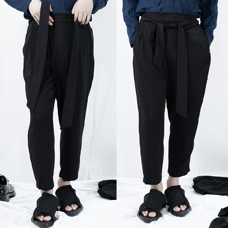customize Big yards men's trouserss 2019 Original summer thin joker casual pants yamamoto belted baggy British harem pants