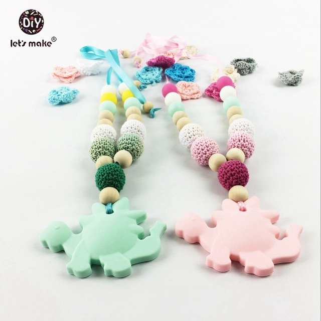 Nursing Necklace With Dinosaur Silicone Wooden Beads (2PC) Safe Natural Eco-friendly Food Grade Baby Teether Necklace