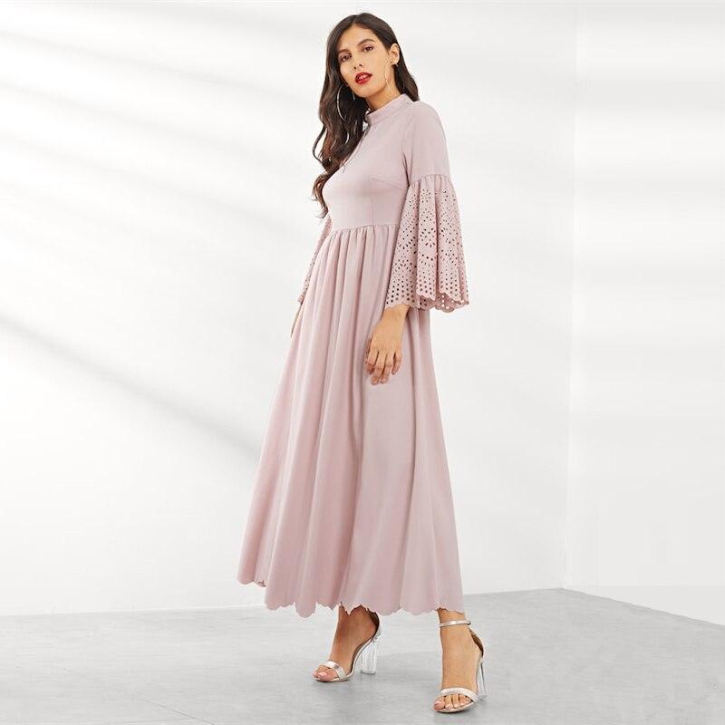 84e33f8e5349d Sheinside Romantic Pink Scalloped Flounce Sleeve Dress Women Elegant Stand  Collar Solid Maxi Dresses High Waist A Line Dress