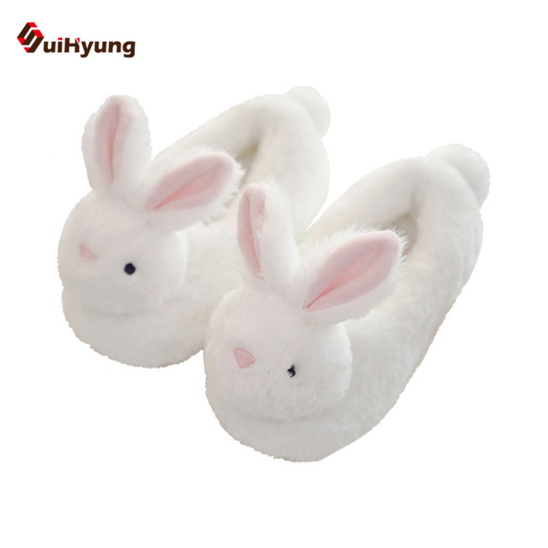 SuiHyung Winter New Women's Cotton Shoes White Big Ear Rabbit Home Indoor Shoes Non-slip TPR Soles Warm Plush Floor Slippers
