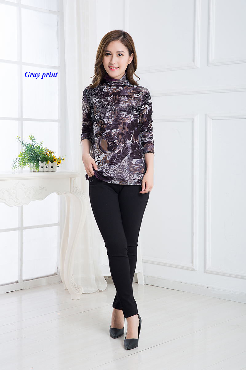 New arrival lady double layered pure mesh silk turtleneck T font b shirt b font 100