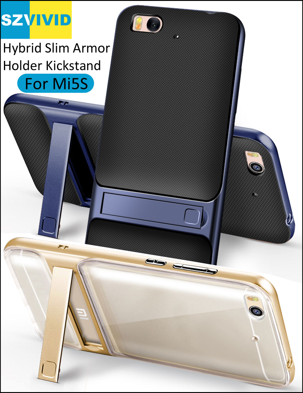 Stand Holder Kickstand Case for Xiaomi Mi5S Hybrid Slim Armor Protector Cover Mi 5S