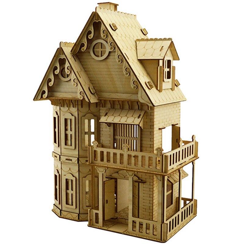 3D puzzles jouet DIY Assemblée dollhouse en bois miniature maison meubles modèle Éducatifs puzzle jouets pour enfants filles cadeaux