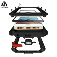 Powerful for iPhone 5S Case,Original Love Mei Metal Aluminum Case for iPhone SE/5/5S Shockproof Heavy Duty Cover Tempered Glass