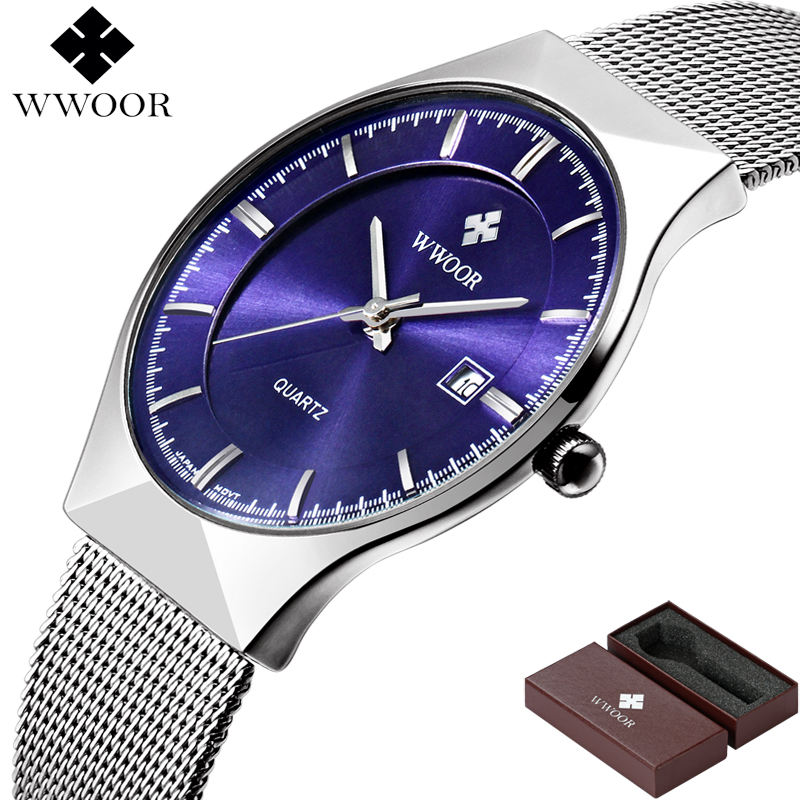 Image 5 - WWOOR Brand Luxury Mens Watches Waterproof Ultra Thin Date Clock Male Steel Mesh Silver Sport Men Quartz Watch relogio masculino-in Quartz Watches from Watches
