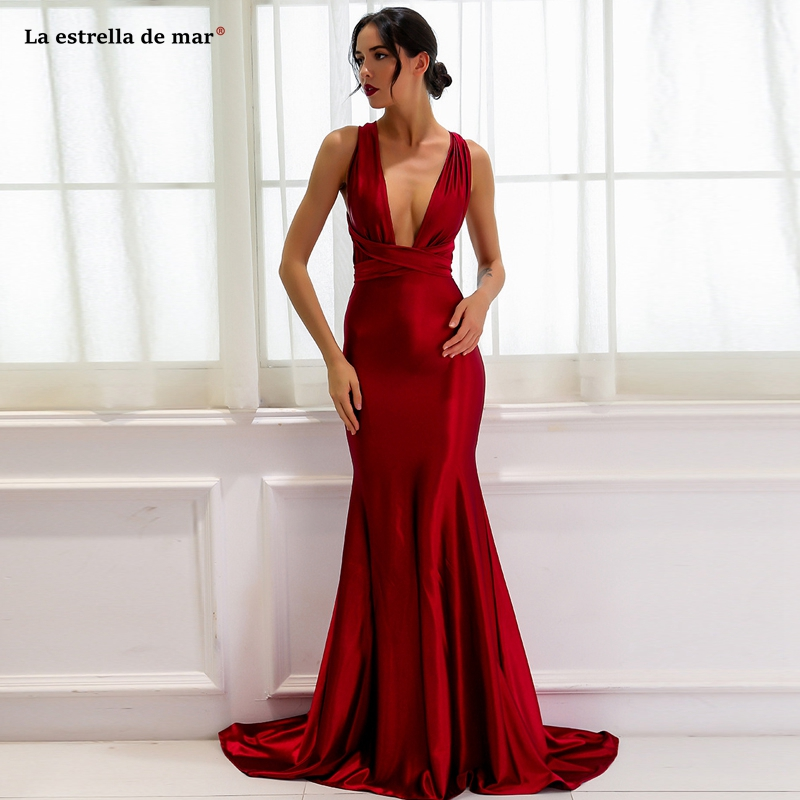 Vestido dama de honra2019 new elastic fabric conversion burgundy   bridesmaid     dresses   long sukienka druhna pretty abito damigella
