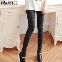 PLAMTEE Maternity Leggings Pregnant Solid Cotton Pants Clothes Women High Waist Adjustable Belt Baby Pregnancy Trousers