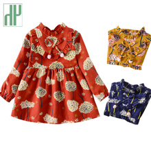 цена на Kids Girl dress winter spring little princess costume Long Sleeve Printing floral dresses for girls Children Clothes 2 5 7 years