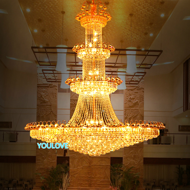 Gold Crystal Chandeliers Lights Fixture Modern Crystal Hanging Light Stair Droplight Hotel Restaurant Club Lamp D120cm 110V 220V