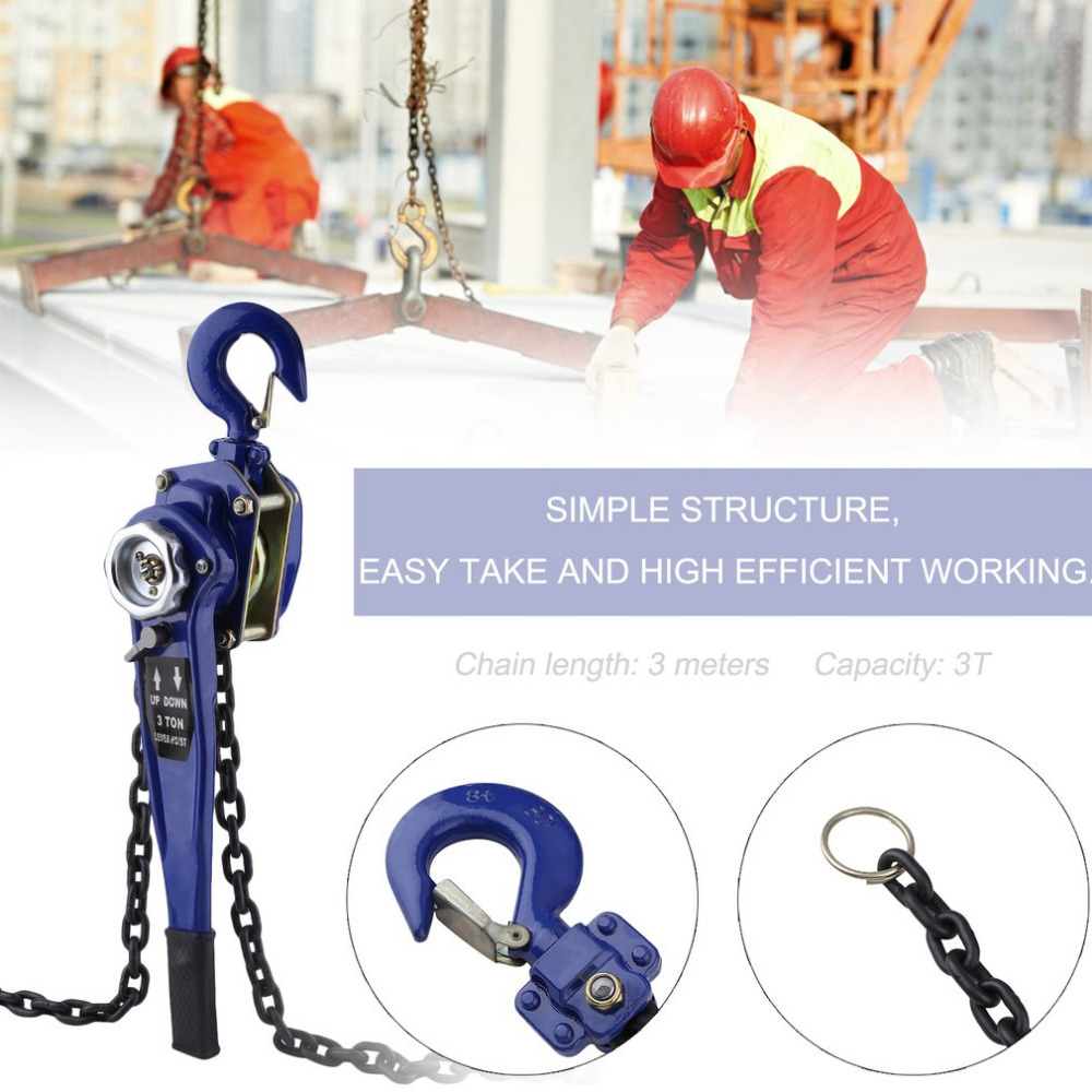 3T Durable Chain Hoist Professional Chain Lifting Sling Universal Electric Lifting Crane Compact Crane Accessories Ship From DE murphy m sling enr1x14 endless round sling purple x 14 synthetic rigging crane lifting belt