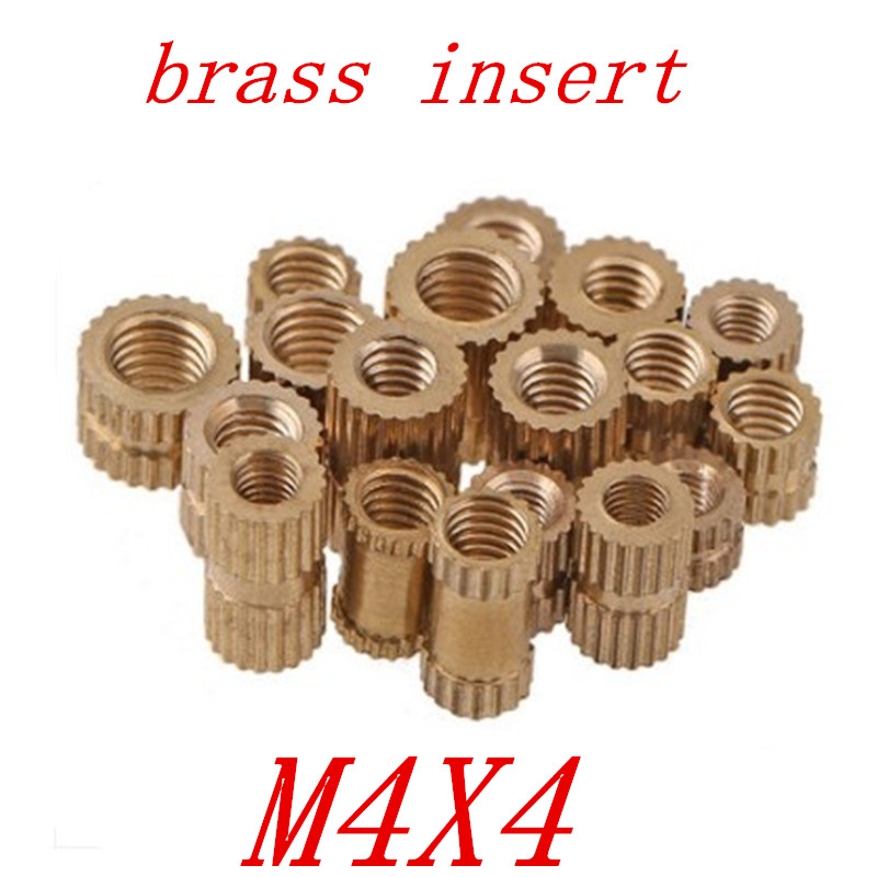 100pcs/lot Brass insert M4*4 OD=4.2 Through thread brass insert nut / knurled nuts for injection moulding цены