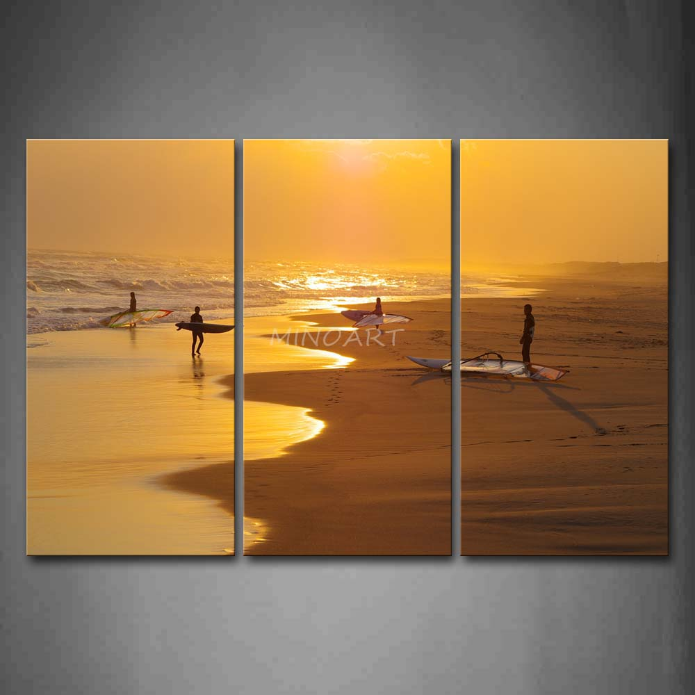 Wall Art For Men 3 piece wall art painting beautiful sunbeam and men are playing on