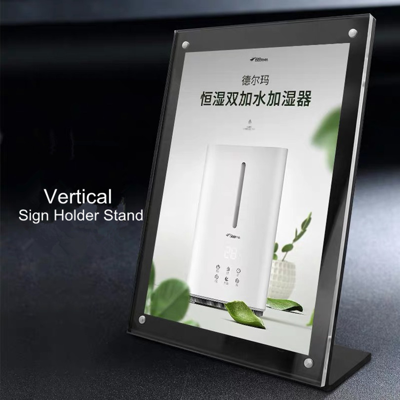 A5 Clear Acrylic Magnetic Photo Block Desktop Card Display Stand Tabletop L Shape Menu Sign Holder Stand Frame