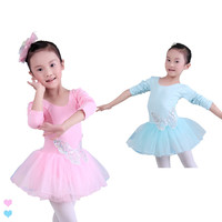 Children Kids Cotton Sequin Butterfly Professional Ballet Tutu Gymnastics Leotard Girl Dance Costume Vest Baby Tutu