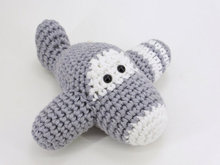 Amigurumi airplane rattle crochet baby toy  rattle  gray and white