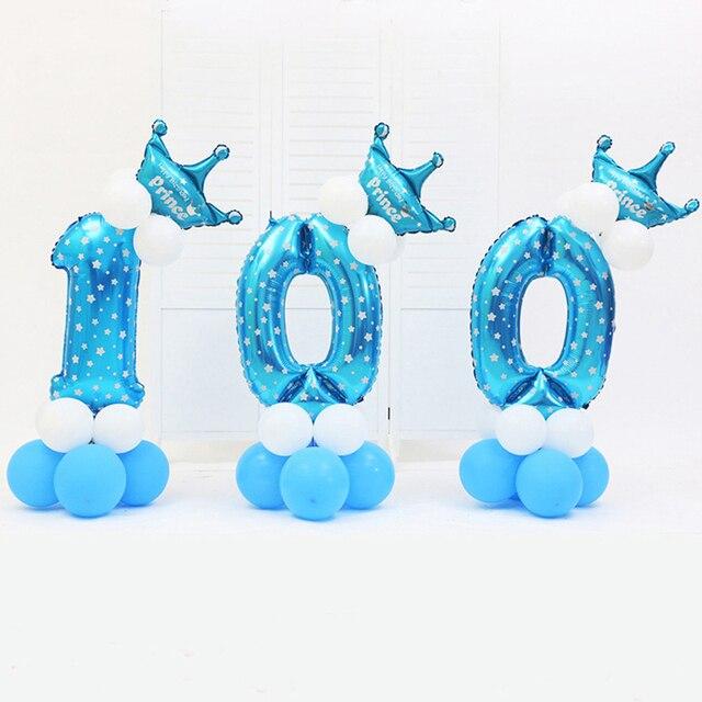 """Pink & Blue 30 """"Digital Balões Com Coroa Conjunto de Pilares Crianças Baby Shower Festa de Aniversário Ballon Ballon de Chumbo Estrada"""