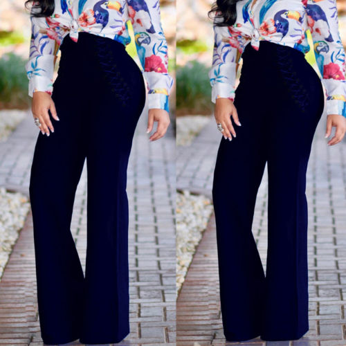2019 Autumn US Women Lace Up Palazzo   Pants   High Waist   Wide     Leg     Pants   OL Career Long   Pant   Button Casual Loose Trousers