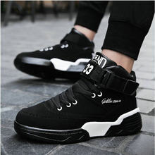 b044aa47f Tleni الذكور حذاء من الجلد أحذية للبنين هوك و حلقة أحذية مشي أبيض أسود الرجال  أحذية رياضية عالية أعلى احذية الجري سلة ZE-59
