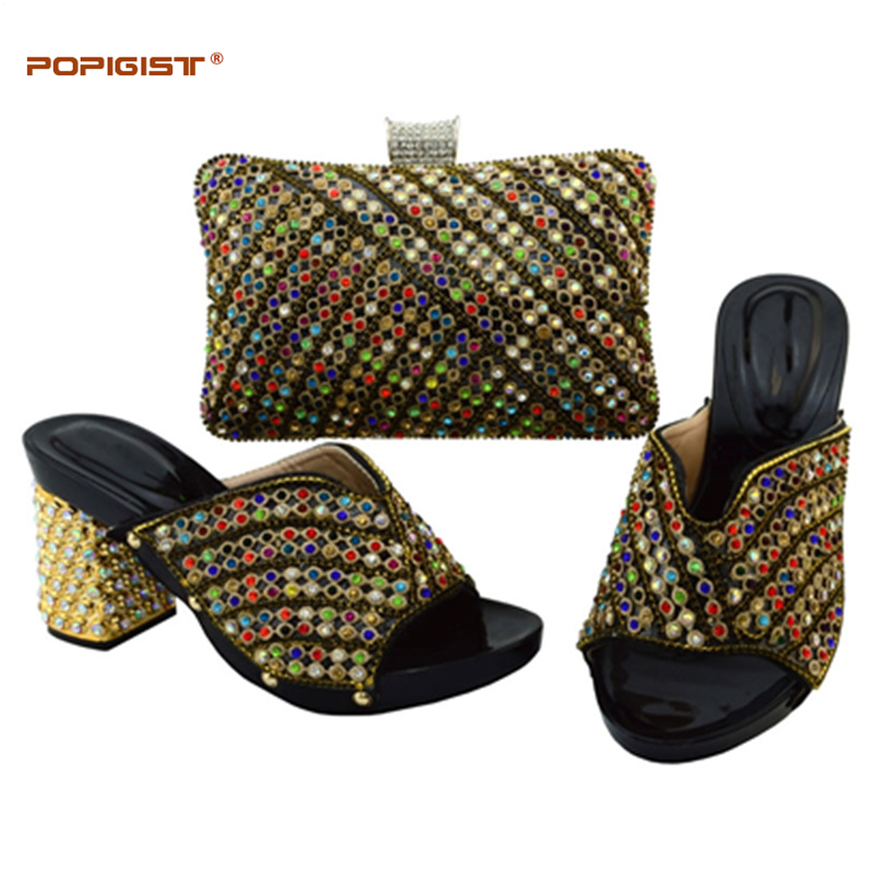 Africains Ensemble Africaine purple Noir Dame Correspondant Sac Assorti Black red Blue Chaussures Avec Lady Diamant Et gold Italie dark Green Chaussure royal Yqn84