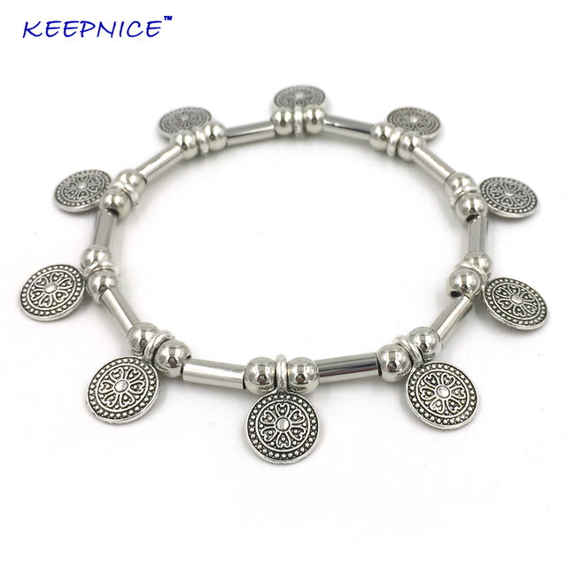 2018 New Handmade Metal Beaded Bracelet With Vintage Coin Charms Bangle Bracelets For Summer Woman