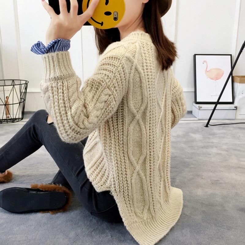 Women Sweater Thick Twist Korean Loose pullover Women Autumn Winter New Thicken Fashion Women Fake Two-piece Sweater Coats XY505