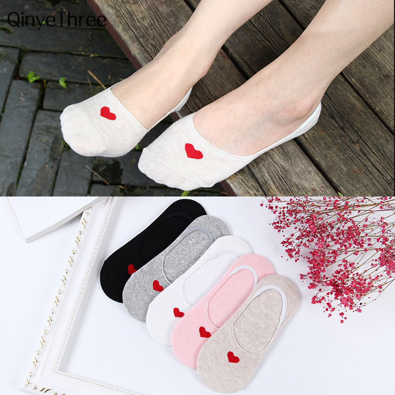 Red Heart Invisible   Socks   Cute College Wind Simple Basic Fresh Female   Sock   Comfortable Cotton Spring Summer Sokken Hot Sale