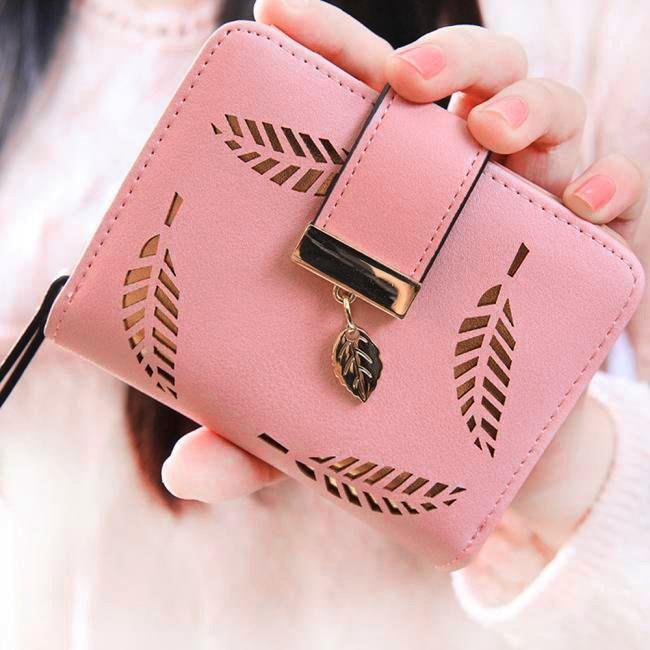 Wallet Women Leaf Bifold Wallet Leather Clutch Card Holder Purse Handbag