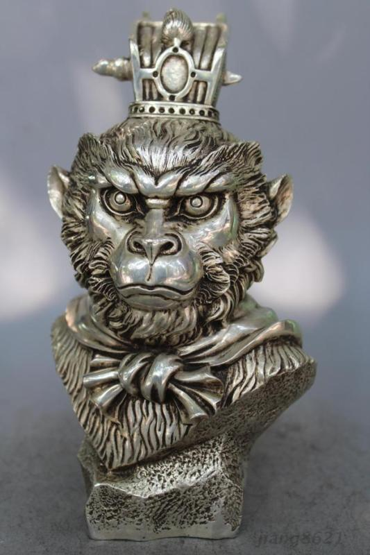 9 Chinese silver Sun Wukong head Statue Collection Handmade Monkey Decoration9 Chinese silver Sun Wukong head Statue Collection Handmade Monkey Decoration