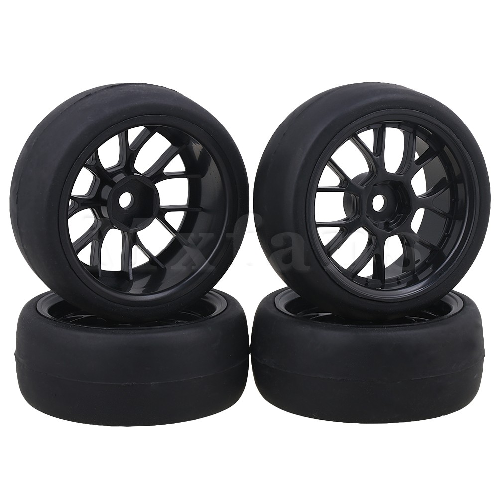 Mxfans Black Plastic Y Shape Wheel Rims Smooth Rubber Tires for RC 1 10 On Road