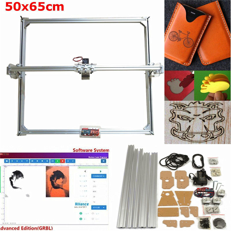 65x50cm DC 12V 100mw-5500mw DIY Desktop Mini Laser Cutting/Engraving Engraver Machine Wood Cutter/Printer/Power Adjustable