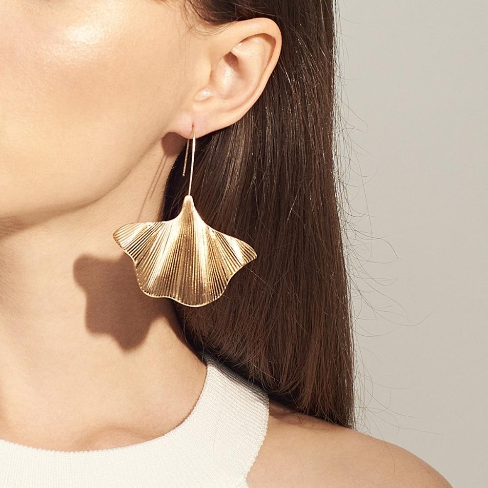 AENSOA Trendy Unique Ginkgo Alloy Drop Earring For Women Simple Plant Leaf Geometric Statement Pendant Earrings Party Jewelry