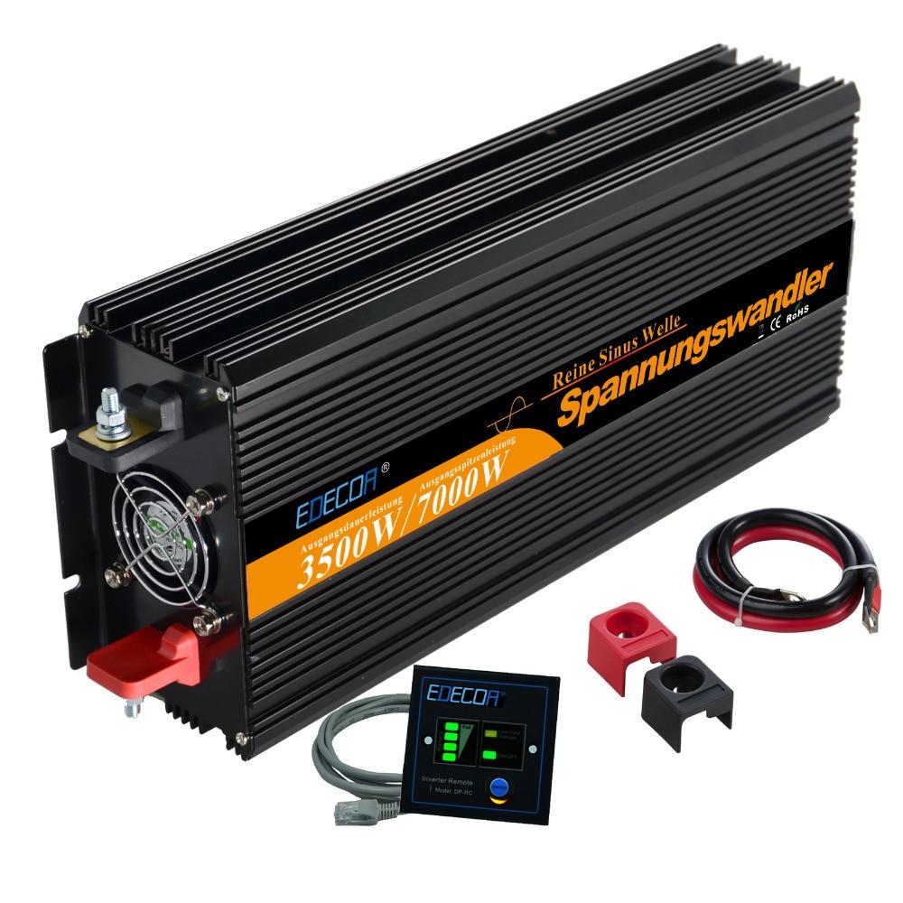 12 V 3500 W/7000 W pico de onda senoidal pura energia solar inversor dc para ac potência do inversor