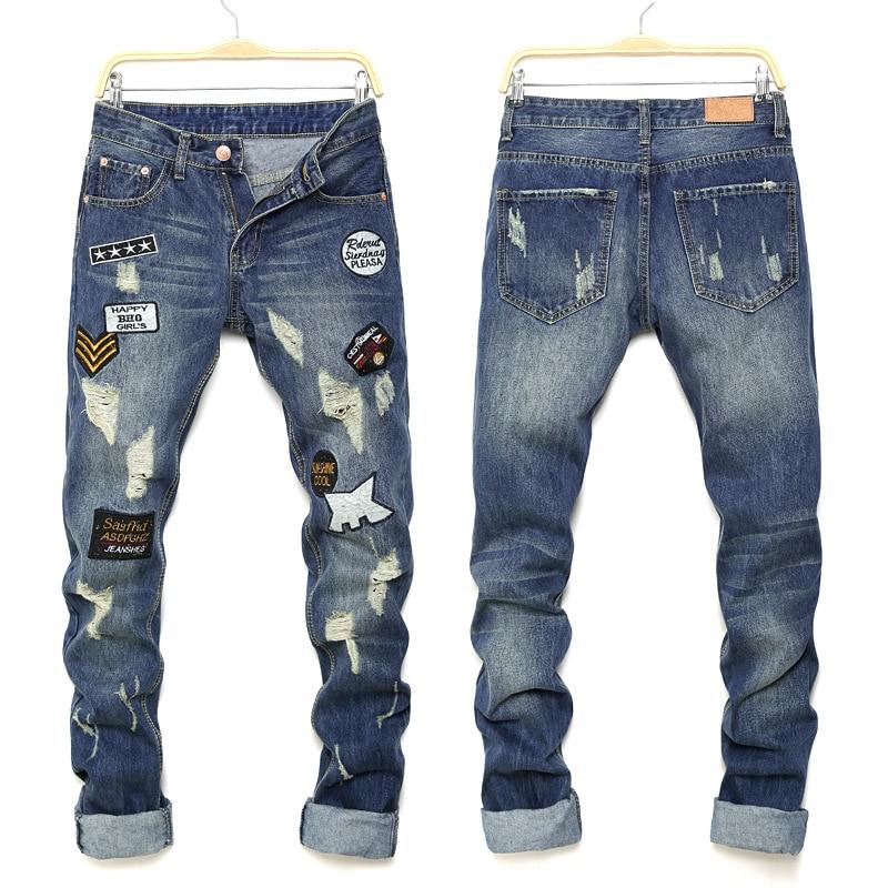 ФОТО Men's clothes hole patch ripped brand jeans Slim fit patchwork print denim pants Fashion zipper pocket long trousers pant men