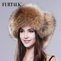 FURTALK real raccoon fur hat real leather fur bone women winter  fur  hat