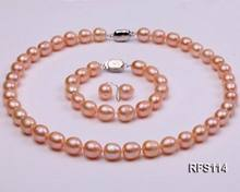 Fashion 9-10mm Pink Rice Shape Freshwater Pearl Necklace Bracelet Earrings Set(China)