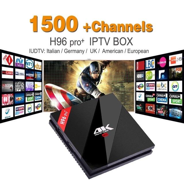 Europa IPTV Android Iptv Set Top Box Amlogic H96 S912 3G 32G H.265 IUDTV 1700 Francés Turco Italiano NOS H96pro IPTV TV receptor