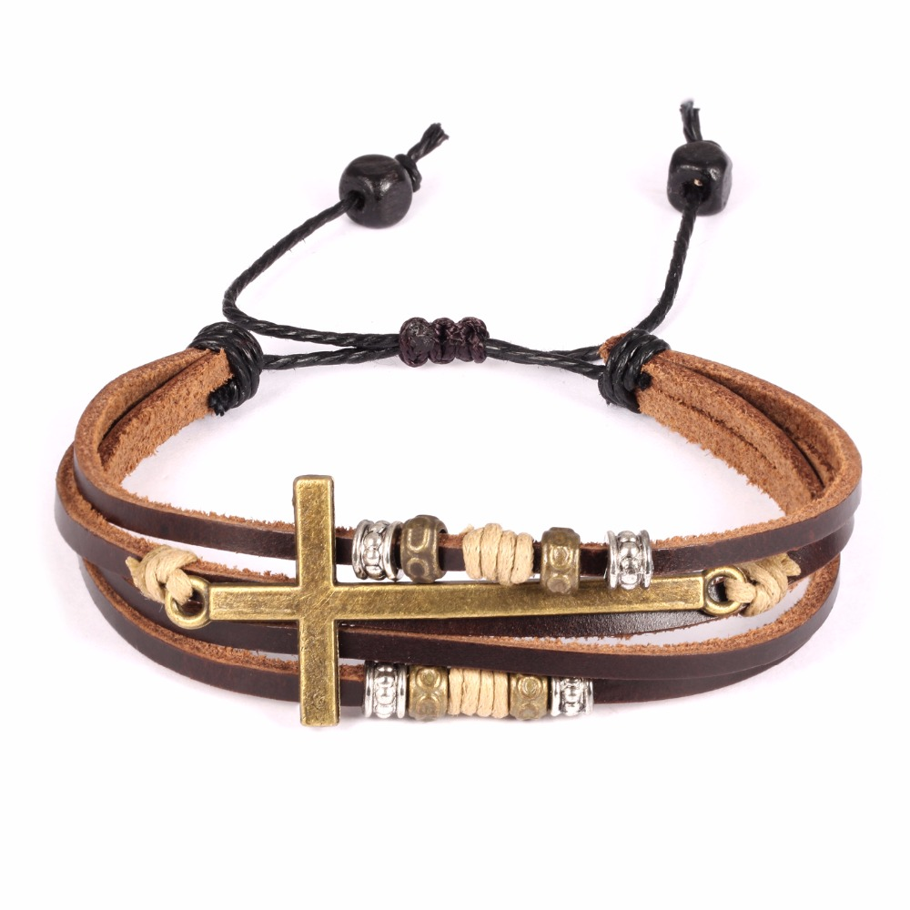 Hand-woven men and women cowhide bracelet bronze cross multi-layer string wooden beads national wind ring