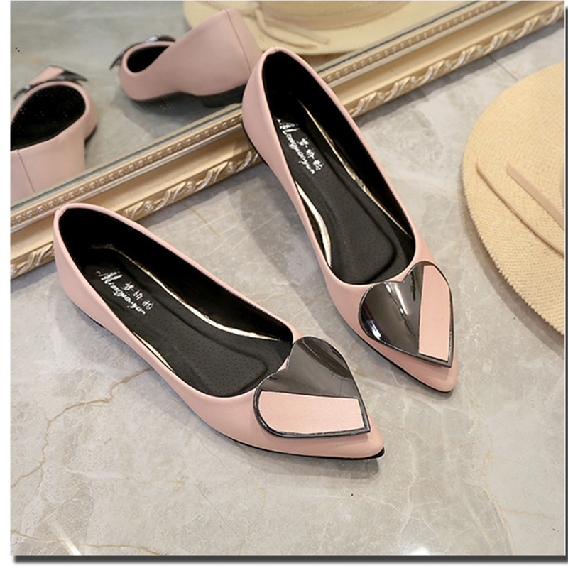 2018fashion women casual flats heart shaped women shoes pointed toe white female shoes spring summer black comfort ladies flats