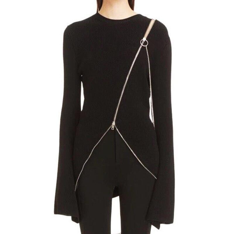 HIGH QUALITY New 2017 Runway Designer Sweater Women's Flare Sleeve Zip Asymmetrical Knitting Sweater