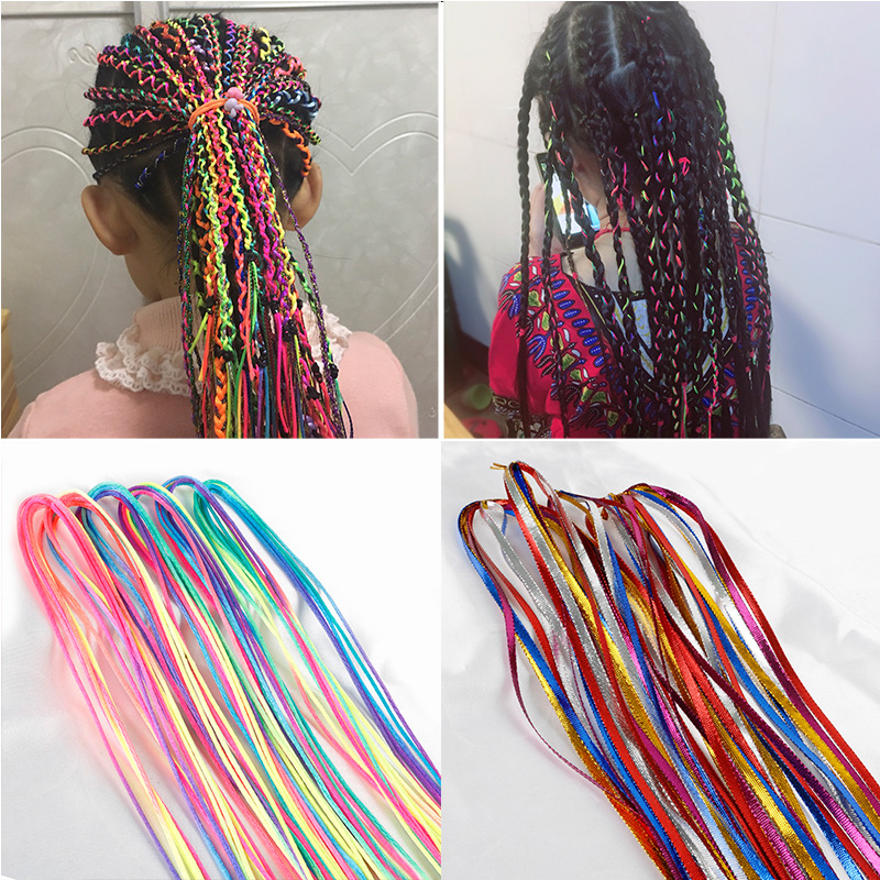 90CM Hair Styling Tool Silk Cord Hair Knitting Braided Rope Headband Jewelry Design Hair Accessories For Girls DIY Ponytail