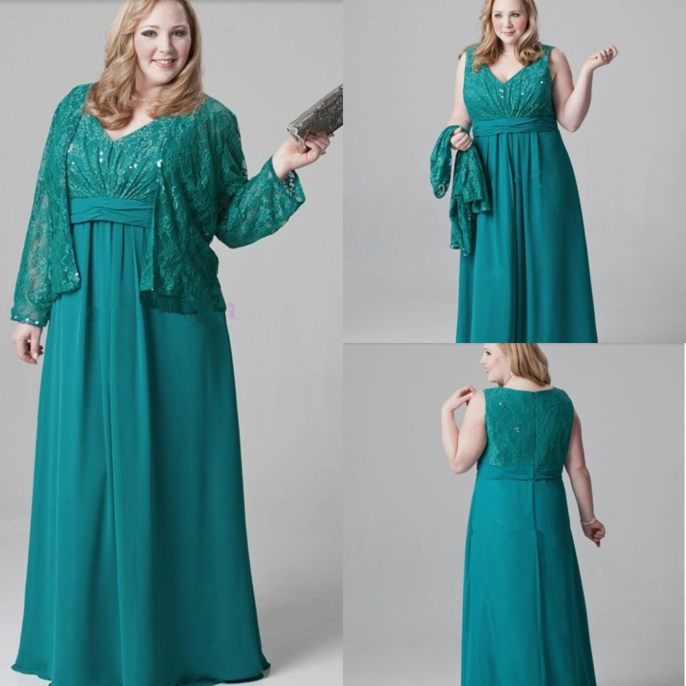 Plus Size Emerald Green Mother of the Bride Dresses Lace Chiffon ...