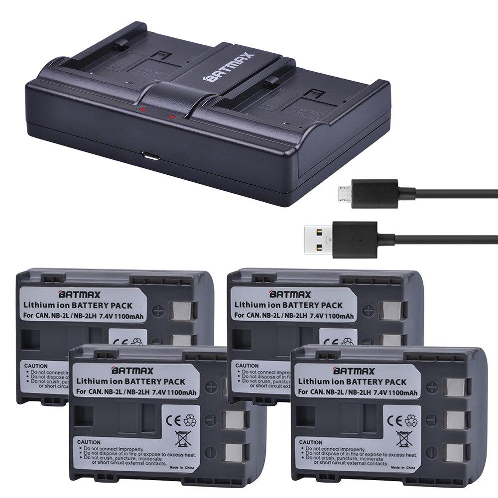 4 Pcs NB-2L NB 2L NB2L NB-2LH NB 2LH NB2LH Batterie + USB Double Chargeur pour Canon 350D 400D G7 G9 S30 S40 z1 Baiser N X Rebel XT XTi