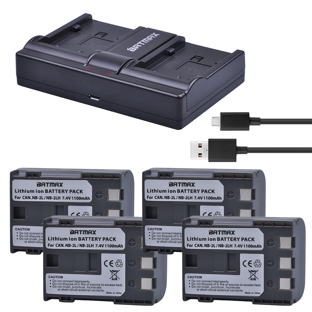 4Pcs NB-2L NB 2L NB2L NB-2LH NB 2LH NB2LH Battery + USB Dual Charger for Canon 350D 400D G7 G9 S30 S40 z1 Kiss N X Rebel XT XTi стоимость