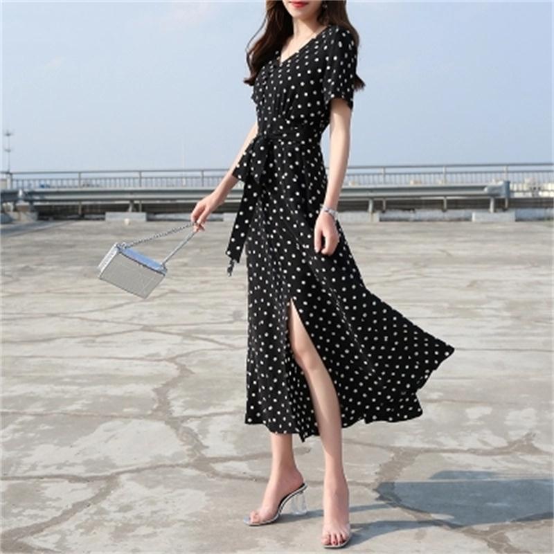 Robe femme été nouvelle vague coréenne col en V split tempérament ins vague point mousseline de soie robe femmes