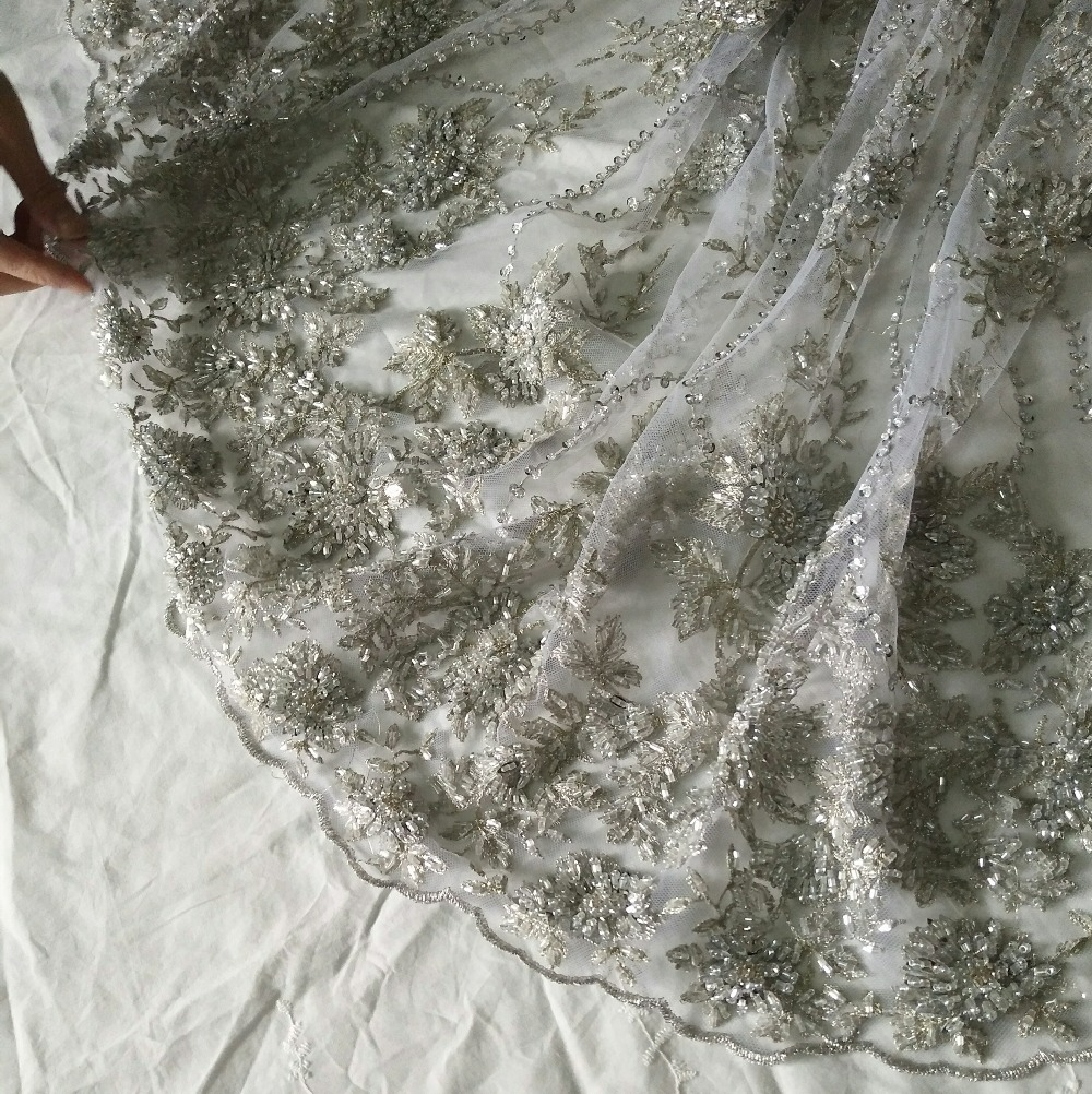 1 stoczni srebrny szary ciężki zroszony koronkowa tkanina ślubna, siatki gipiury koronki z 3D kwiaty, super poświęcić koronki w Koronka od Dom i ogród na  Grupa 2