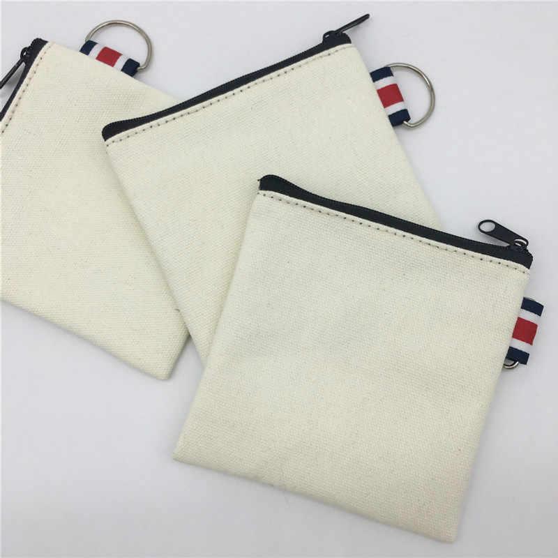 DIY Mão-pintado Saco de Lona Em Branco Puro Zipper Coin Bag Chave Bolsa de Dinheiro de Bolso Mulheres Homens Criativo Hand-held bolsa Da moeda Carteira Pequena Criança