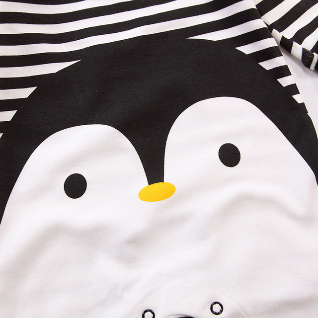 2019 Spring Autumn Baby Girl Brand Clothing Cotton Romper Clothes Children's Cartoon Penguin Baby Animal Girl Jumpsuit Romper 4