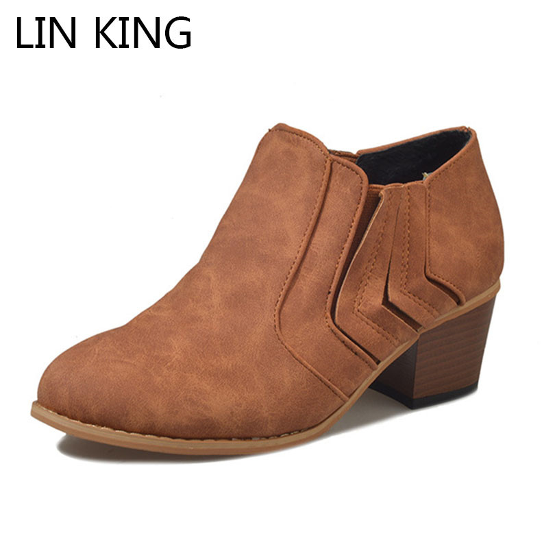 LIN KING New Spring Autumn Women Ankle Boots Square Heel Pointed Toe Short Shoes Big Size Shallow Med Heel Slip On Ladies Botas misakinsa fashion pointed toe ankle boots woman square heel short botas brand new ladies glitter footwear shoes woman size 32 43