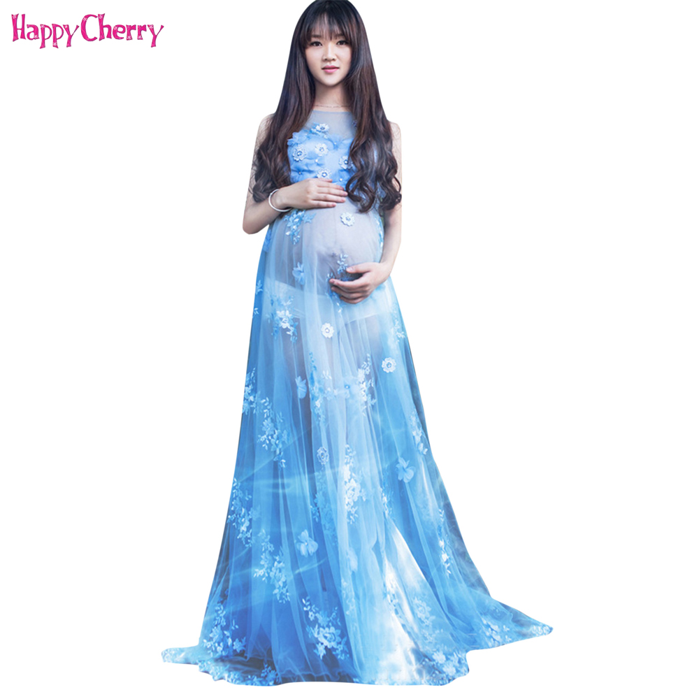 6f9a84e2adaf New Maternity Pregnant Women Photography Props Pure Blue Chiffon Dress  Pregnancy Romantic Clothing Princess Floral Long Dresses