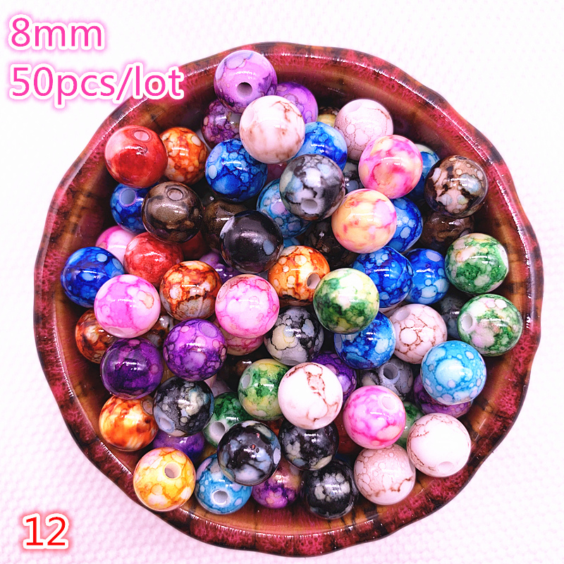 New Hot 6mm 50 Pcs Round Pearl Loose Beads Double Colors Glass Jewelry Making#09